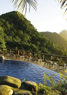 St. Lucia view from a pool at Ladera Resort.  Near heaven....