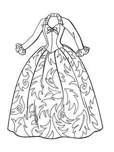Wedding dress coloring page for girls, printable free | Coloring ...