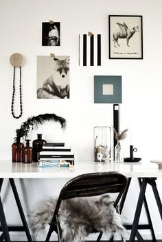 simple easy to design home office, black and white workspace.