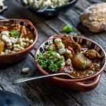 Slow-cooked pork with hominy and some rather unique potatoes. Slow Cooked Pork, Food Travel, Slow Cooker, Potatoes, Stuffed Peppers, Restaurant, Homemade, Cooking, Recipes
