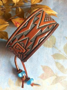 Leather Cuff Bracelet Aztec Bird Thunderbird Adjustable by dgierat, $22.00