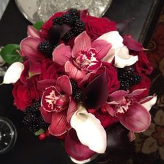 Red cymbidium, mini callas, roses and fresh blackberry bouquet by @Boukates | Katie Loyd