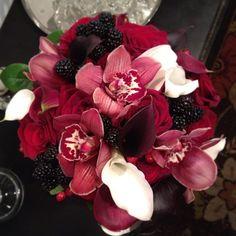 Red cymbidium, mini callas, roses and fresh blackberry bouquet by @Boukates | Katie Loyd