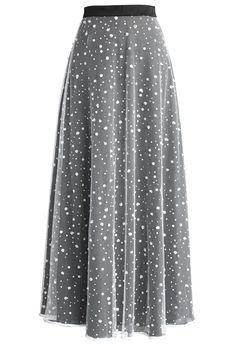 Gray polka dot maxi skirt