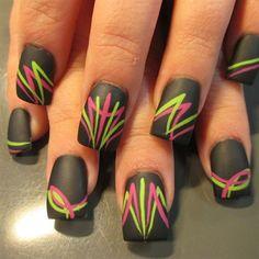 Pink and green pinstriping by Oli123 - Nail Art Gallery nailartgallery.nailsmag.com by Nails Magazine www.nailsmag.com #nailart
