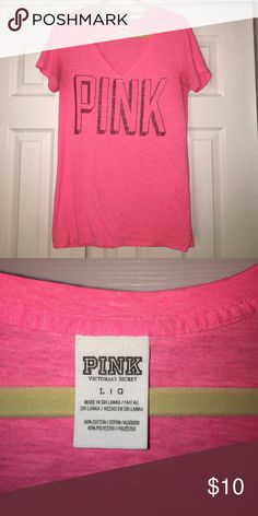 VS Pink T-shirt !! adorable shirt! So comfy! Signs of wear in armpit area, reflective in price! PINK Victoria's Secret Tops Tees - Short Sleeve
