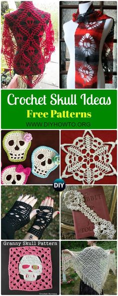 Crochet Skull Ideas Free Patterns: Crochet Skull Motifs, Skull Scarf, Skull Shawl, Skull Gloves, Shoes, Granny Skulls for Fall & Halloween  via @diyhowto