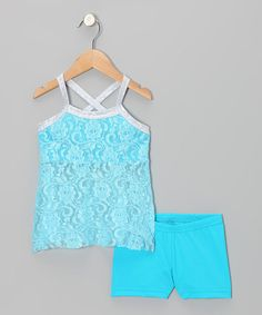 Take a look at this Blue & Silver Lace Tunic & Shorts - Toddler & Girls on zulily today!