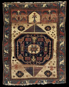 "The main border is very unusual and the drawing is spacious (something often seen as characteristic of older Caucasian pieces), but it is a ""village"" piece. Prayer Rug, Magic Carpet, Kilims, Tribal Rug, Kilim Rugs, Rugs On Carpet, Indoor Outdoor, Blankets, Bohemian Rug"