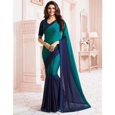 Fashion Couture Georgette Blue Plain Saree - 99980