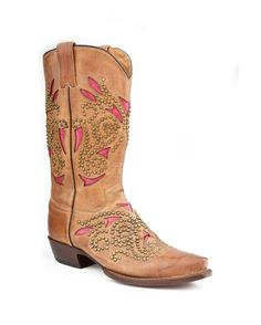 Stetson Boots Women's Sanded Saddle Underlay With Nickle Rivets Cowgirl Boot  http://www.countryoutfitter.com/products/37035-womens-sanded-saddle-underlay-with-nickle-rivets-boot