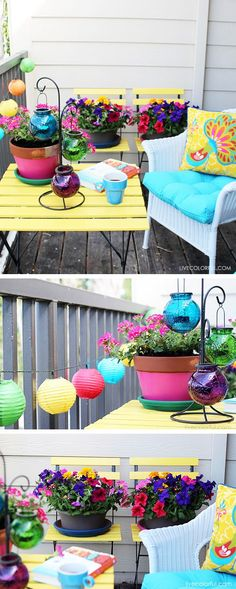 6 steps and tips about how to decorate a small patio or balcony. If you want to get your balcony patio summer ready, you are going to need to play with colors, textures and add fun details to inject your own personality into the project. Check out this amazing and colorful before and after patio transformation and inspire yourself!