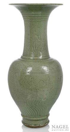 A rare Longquan celadon trumpet-necked baluster vase, China, Yuan-early Ming dynasty