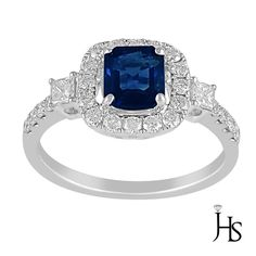 18K WhiteGold 1.72 CT Round Diamond & Sapphire Gem Stone Engagement/Fashion Ring #WomensClassicGemstoneRingJewelryhotspot