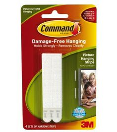 3M Command damage free NARROW picture and frame hanging strips 4pk ref: 17207