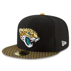 893f8fd861917 Jacksonville Jaguars New Era 2017 Sideline Official 59FIFTY Fitted Hat -  Black. Gorros De Homens ...