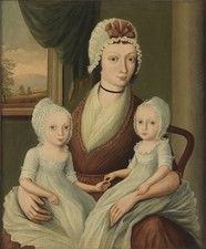 """Robert Young Antiques - Collection. Portrait of a Seated Lady with her Twin Daughters English Naive School Oils on Canvas England, c.1830 32.00"""" high x 28.00"""" wide x 1.00"""" deep Provenance: Private Collection, New York, USA."""