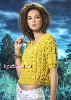 Желтый летний пуловер с красивым фантазийным узором. Вязание спицами