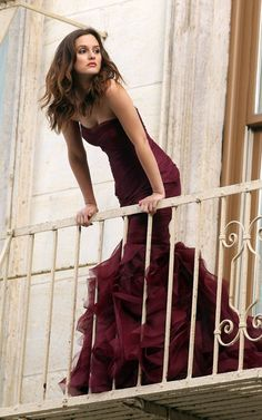 Gossip Girl, Leighton Meester perched on a balcony in the very glamourous couture gown designed by Vera Wang for the new Wang perfume 'Lovestruck""