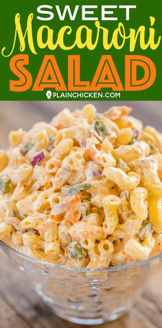 Sweet Macaroni Salad - seriously THE BEST macaroni salad EVER! I took this to a potluck and it was the first thing gone. Everyone asked for the recipe! Can make this ahead of time and refrigerate overnight. Elbow macaroni red onion green bell pepper c Sweet Pasta Salads, Pasta Salad Recipes, Best Macaroni Salad, Elbow Macaroni Recipes, Filipino Macaroni Salad, Macaroni And Cheese Salad Recipe, Best Mac Salad Recipe, Macaroni Salads, Best Pasta Salad