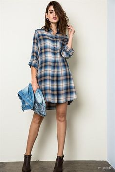 """Soft and Cozy! This plaid is a """"must have' in your wardrobe. New color added. Are you ready for the weekend? Dress down with some of our coolest favorites like our Plaid Shirt and solid color leggings"""
