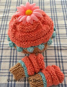 Knitted in light and bright colored bamboo fiber with a cupcake base of Bernat Satin Sport, the hat and mitts are the perfect weight and girly colors of spring's transitional cool days.