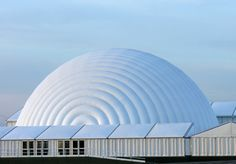Tectoniks 35 metre inflatable dome structure. Visit www.tectoniks.com for more information.