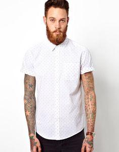 ASOS Chambray Dobby Shirt In Short Sleeve