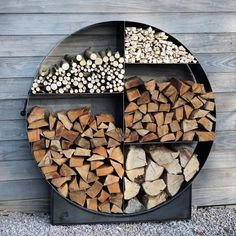 Backyard Patio Designs, Backyard Landscaping, Outdoor Firewood Rack, Firewood Storage, Outdoor Fireplace Designs, Log Store, Cool Fire Pits, Wood Shed, Garden Furniture