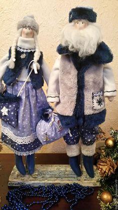 Купить Дед Мороз и Снегурочка Тильда - комбинированный, Дед Мороз и Снегурочка, новогодний подарок, тильда ♡