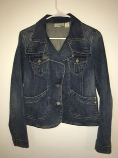 Womens DKNY JEANS Blue Denim Jacket Coat Small Cotton Spandex Stretch 2-Button #DKNY #JeanJacket