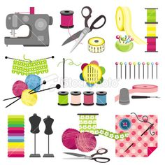 Craft icons - Sewing Royalty Free Stock Vector Art Illustration