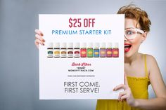 The Young Living Premium Starter Kit includes Young Living Essential Oils and your choice of Young Living Diffuser PLUS $25 new member coupon for rebate.