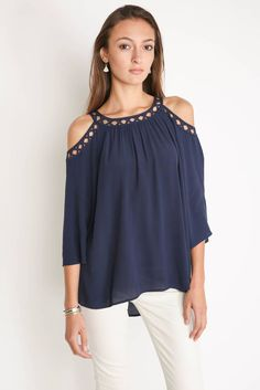 Daniel Rainn Caged Cold Shoulder Top in NAVY - front view Cool Outfits, Casual Outfits, Fashion Outfits, Shoulder Tops, Cold Shoulder Blouse, Shoulder Shirts, Stitch Fix Outfits, Stitch Fix Stylist, Blouse Styles