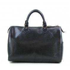 Louis Vuitton Black Epi Leather Speedy 30 Satchel Bag