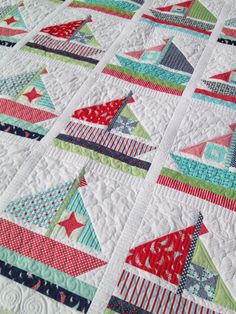 lovely rita: Daysail Quilts for Cotton Way: Quilt Market 2014 Ocean Quilt, Beach Quilt, Lap Quilts, Quilt Blocks, Quilting Projects, Quilting Designs, Nautical Quilt, Nautical Baby, Patchwork Quilt Patterns