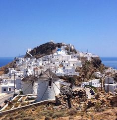 island of Serifos (Σέριφος) Beautiful Cycladic windmills at Chora village