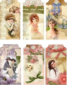 12 HANG/GIFT TAGS VINTAGE 6 diff LOVELY LADIES IMAGES(452.)