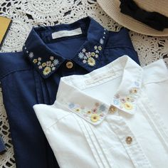 2017 new women's sweet flower embroidery lapel collar long sleeve cotton white Japanese Style Mori Girl shirt Blouse female Embroidery On Clothes, Shirt Embroidery, Embroidered Clothes, Embroidery Fashion, Embroidery Flowers Pattern, Hand Embroidery Designs, Style Japonais, Spring Shirts, Love Shirt