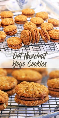 Oat Hazelnut Yoyo Cookies by Sugar Salt Magic. Perfect combination of chewy centres and crispy edged cookies, stuffed with Nutella frosting. Baking Recipes, Cookie Recipes, Dessert Recipes, Nutella Recipes, Baking Ideas, Gourmet Recipes, Biscuit Cookies, Biscuit Recipe, Tea Cookies