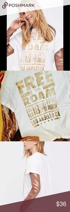 Free People Backstage Free to Roam long sleeve This shirt screams ROCK STAR!!!!! Soft white faded graphic Tee Shirt with copper sequin long sleeves. Subtle distressed trim. Size XS - NWOT. Brand new 💕 Free People Tops Tees - Long Sleeve