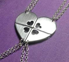 Four Best Friends Necklace Puzzle Heart