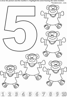 Kids Math Learning Kids Math Activities Numbers with Pictures Nursery Math Printable Exercise 5 Teaching Numbers, Numbers Preschool, Preschool Curriculum, Preschool Worksheets, Kindergarten Math, Math Activities, Toddler Activities, Preschool Activities, Math 5