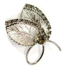 Leaves Brooch Pin Gray Rhinestone Silver Tone Fall Autumn p433