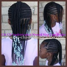 Cornrows & Beads using extensions (Kanekalon Hair) for added length.