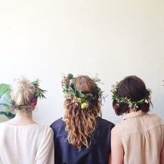 Accessorize with flower wreaths!  Looks wonderful with hair both long and short :) bloom.com