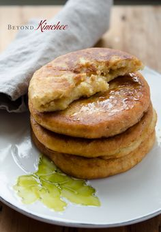 hotteok 호떡, korean pancake made using three flours, instead of the peanut filling, consider other nuts like walnuts