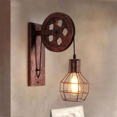 Loft - Industrial Vintage Pulley Wall Mounted Lamp Best Picture For raw edge applique For Your Taste You are looking for something, and it is going to tell you exactly what you are looking for, and yo Wall Mounted Lamps, Led Wall Lamp, Wall Sconces, Room Lamp, Vintage Lighting, Modern Lighting, Lighting Ideas, Industrial Lighting, Industrial Chic