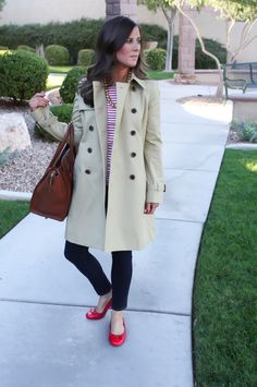 Trench Coat, Red Striped Tee, Dark Wash Skinny Jeans, Patent Red Flats, Brown Tote, J.Crew, Tory Burch, Celine Luggage 5