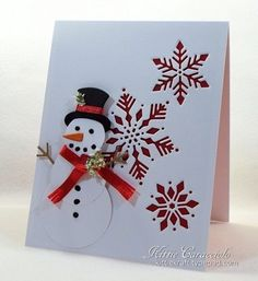 KC Impression Obsession Snowflake Cutout - Snowman and Cutout Snowflakes Stamped Christmas Cards, Beautiful Christmas Cards, Christmas Card Crafts, Homemade Christmas Cards, Christmas Cards To Make, Xmas Cards, Homemade Cards, Handmade Christmas, Holiday Cards